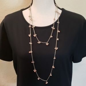 Jewelry - Silver colored necklace w pearl/orange clusters